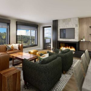 Kindred Resort Room with Fireplace Rendering